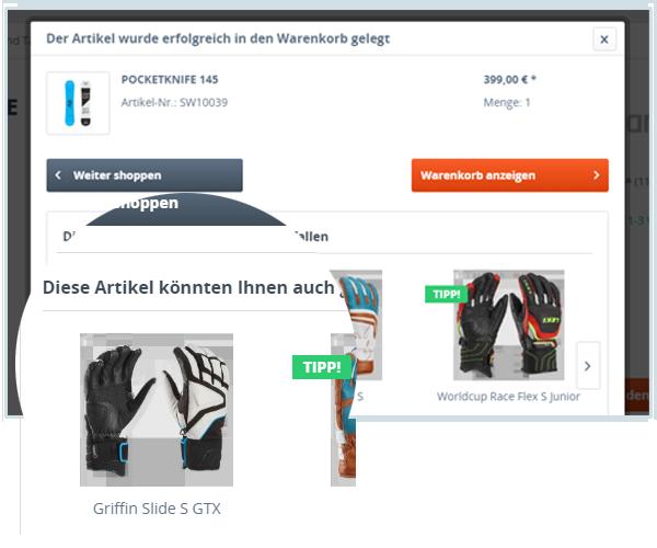 Zubehör Slider im modalen Warenkorb (Shopware 5)